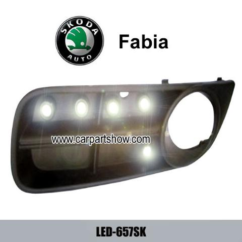 Skoda Fabia DRL LED Daytime Running Lights Car headlight parts Fog lamp cover LED-657SK