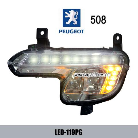 PEUGEOT 508 DRL LED Daytime Running Lights Car headlight parts Fog lamp cover LED-119PG