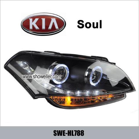kia soul angel eye led head lamp drl headlights dayline. Black Bedroom Furniture Sets. Home Design Ideas